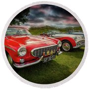 Volvo P1800 Classic Car Round Beach Towel