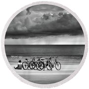 Waiting At The Edge Of The World Round Beach Towel