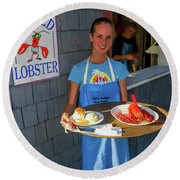 Waitress Serving Lobster  Round Beach Towel