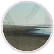 Walking By The Sea Round Beach Towel by Belinda Greb