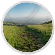 Walking Downhill Large Trail With Silicon Valley At The End Round Beach Towel