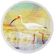 Walking The Waves Of Sanibel Round Beach Towel