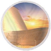 Wall Disney Concert Hall At Sunset Round Beach Towel