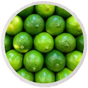 Wall Of Limes Round Beach Towel