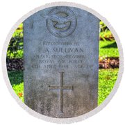 War Grave Of Flying Officer F A Sullivan  Round Beach Towel