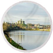 Warkworth Castle And River Aln Round Beach Towel