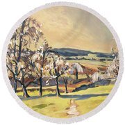 Warm Spring Light In The Fruit Orchard Round Beach Towel