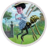 Wasp Woman Insect Drinking Tea Fantasy Round Beach Towel