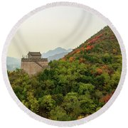 Watch Tower, Great Wall Of China Round Beach Towel