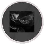 Water Droplets On A Rose Round Beach Towel