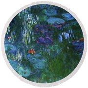 Water Lilies 1918 - Digital Remastered Edition Round Beach Towel