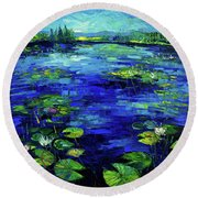 Water Lilies Story Impressionistic Impasto Palette Knife Oil Painting Mona Edulesco Round Beach Towel