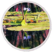 Water Lily 12 Round Beach Towel