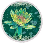 Water Lily And Lace Round Beach Towel