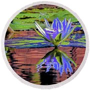 Water Lily10 Round Beach Towel