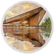 Water Reflection Central Station Rotterdam Round Beach Towel