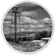 Water Tower In Hillsborough New Brunswick Round Beach Towel