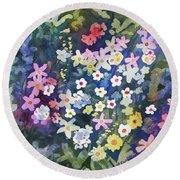 Watercolor - Alpine Wildflower Design Round Beach Towel