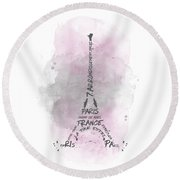 Watercolor Art Eiffel Tower - Pink Round Beach Towel