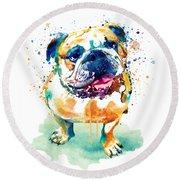Watercolor Bulldog Round Beach Towel
