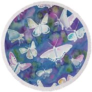 Watercolor - Butterfly Design Round Beach Towel