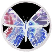 Watercolor Butterfly On Black V Round Beach Towel