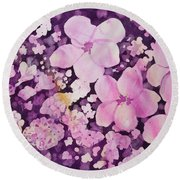 Watercolor - Cherry Blossom Design Round Beach Towel