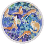 Watercolor - Fox And Firefly Design Round Beach Towel
