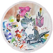 Watercolor - Kitten On My Painting Table Round Beach Towel