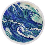 Watercolor - Ocean Wave Design Round Beach Towel