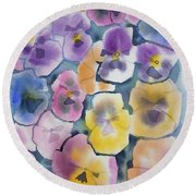 Watercolor - Pansy Design Round Beach Towel