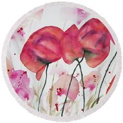 Watercolor - Poppy Portrait Round Beach Towel