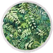 Watercolor - Rainforest Canopy Design Round Beach Towel