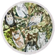 Watercolor - Screech Owl And Forest Design Round Beach Towel