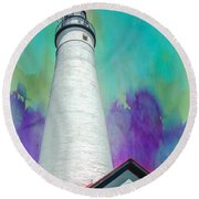 Watercolor Sky Lighthouse Round Beach Towel