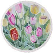 Watercolor - Spring Tulips Round Beach Towel