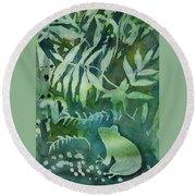 Watercolor - Tree Frog Design Round Beach Towel by Cascade Colors