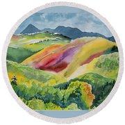 Watercolor - Wilson Mesa Landscape Impression Round Beach Towel