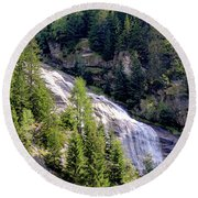 Waterfall In The Mountains. Round Beach Towel