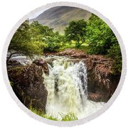 Waterfall Under The Mountain Round Beach Towel