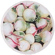 Watermelon Radishes And A Teeny Ear Of Corn Round Beach Towel