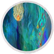 Watery Abstract Xviii - Women And Candles Round Beach Towel