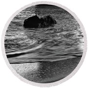 Waves From The Cave In Monochrome Round Beach Towel