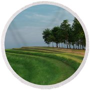 Waves Of Grass Round Beach Towel by Davor Zerjav