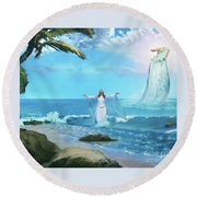Waves Of Mercy Round Beach Towel