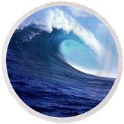 Waves Splashing In The Sea, Maui Round Beach Towel