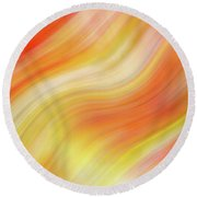 Wavy Colorful Abstract #5 - Yellow Orange Round Beach Towel by Patti Deters