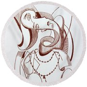 Weeping Woman With Prayer Beads Round Beach Towel by Anthony Falbo