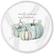 Welcome Autumn Blue Pumpkin Round Beach Towel