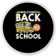 Welcome Back To School Kids School Bus Round Beach Towel